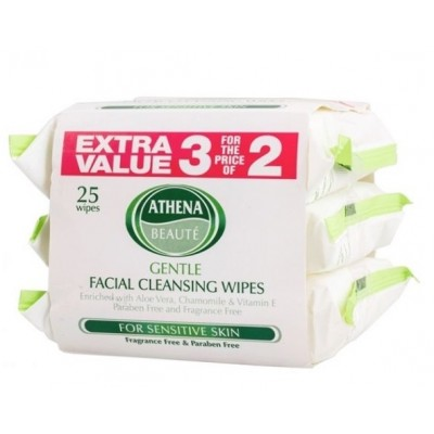 Athena Gentle Cleansing Facial Wipes 3 x 25 kpl