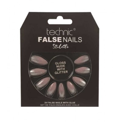 Technic False Nails Stiletto Gloss Nude With Glitter 24 stk
