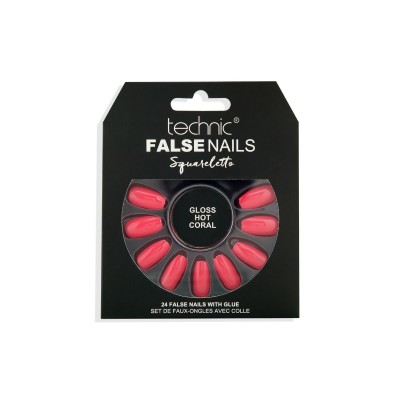 Technic False Nails Squareletto Gloss Hot Coral 24 st