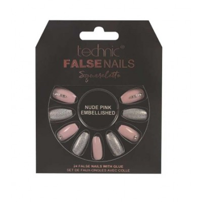 Technic False Nails Squareletto Nude Pink Embellished 24 stk