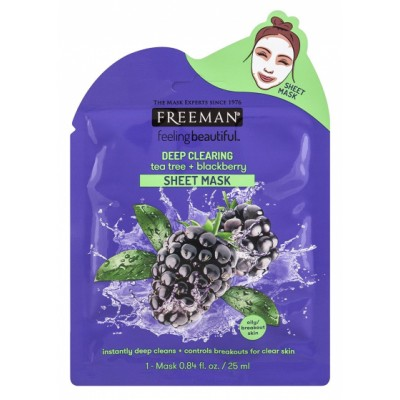 Freeman Deep Clearing Tea Tree & Blackberry Sheet Mask 25 ml