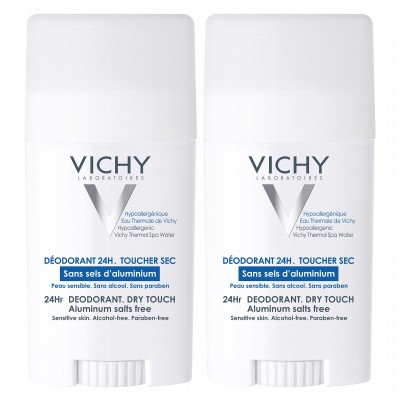 Vichy 24HR Aluminium Salt Free Dry Touch Deostick Duo 2 x 40 ml