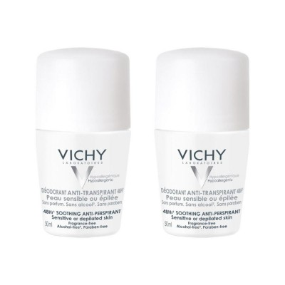 Vichy 48HR Soothing Anti-Perspirant Sensitive Deo Roll On Duo 2 x 50 ml