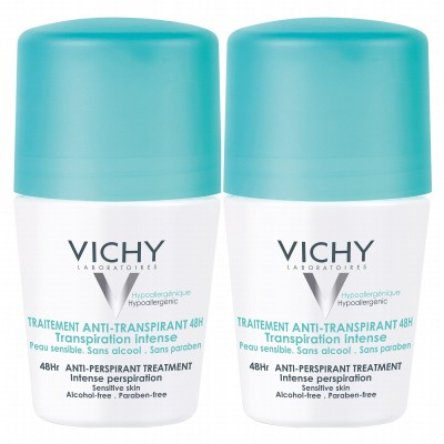 Vichy 48HR Anti-Perspirant Sensitive Deo Roll On Duo 2 x 50 ml