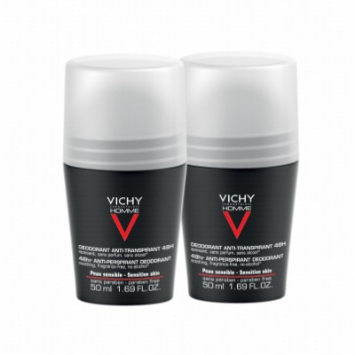 Vichy Homme 48HR Anti-Perspirant Deo Roll On Duo 2 x 50 ml