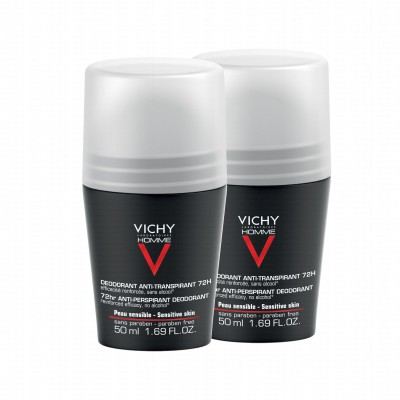 Vichy 72HR Anti-Perspirant Deo Roll On Duo 2 x 50 ml