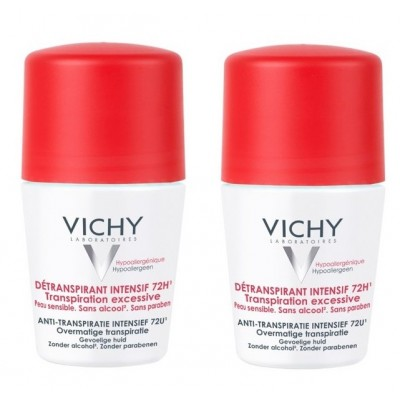 Vichy 72HR Anti-Perspirant Overnight Treatment Deo Roll On Duo 2 x 50 ml