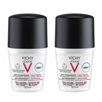 Vichy Homme Anti-Stains Deo Roll On 2 x 50 ml