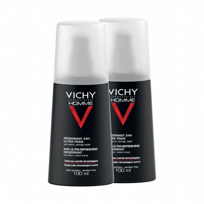 Vichy Homme 24H Ultra Fresh Deospray 2 x 100 ml