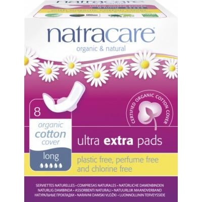 NatraCare Organic Cotton Ultra Extra Pads Long 8 kpl
