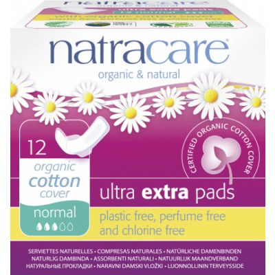 NatraCare Organic Cotton Ultra Extra Pads Normal 12 stk
