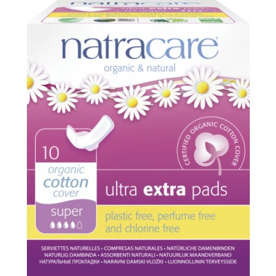 NatraCare Organic Cotton Ultra Extra Pads Super 10 kpl