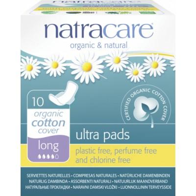 NatraCare Organic Cotton Ultra Pads Long 10 stk
