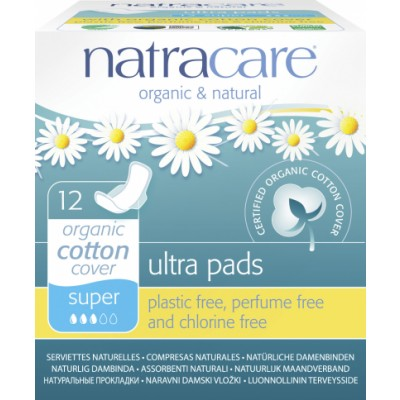 NatraCare Organic Cotton Ultra Pads Super 12 pcs