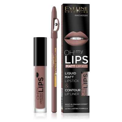 Eveline Oh My Lips Liquid Matt Lip Kit 02 Milky Chocolate 4,5 ml + 1 stk