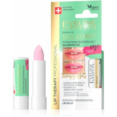 Eveline Lip Therapy S.O.S Expert Regenerating Lip Balm Rose Tint 1 kpl