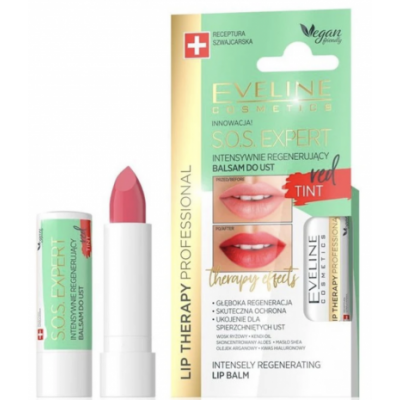 Eveline Lip Therapy S.O.S Expert Regenerating Lip Balm Red Tint 1 stk