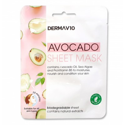 DermaV10 Avocado Sheet Mask 1 st