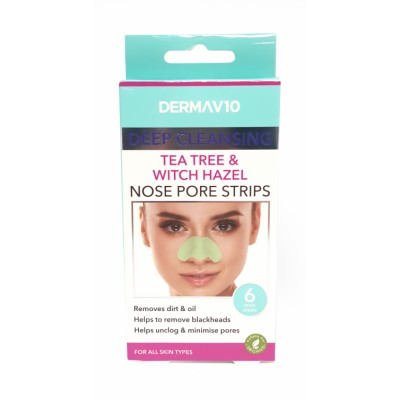 DermaV10 Tea Tree & Witch Hazel Nose Pore Strips 6 pcs