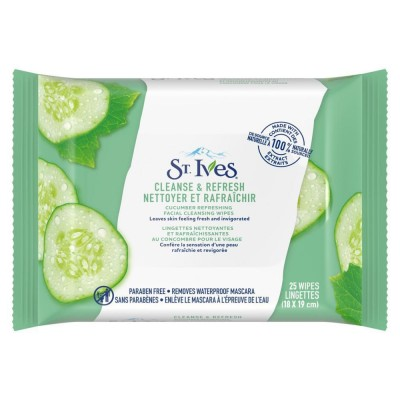 St. Ives Cleanse & Refresh Cucumber Cleansing Wipes 25 pcs