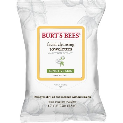 Burt's Bees Facial Cleansing Towelettes Cotton Extract 30 pcs