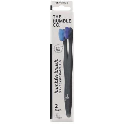 The Humble Co. Humble Brush kasvipohjainen hammasharja aikuisille Purple Blue Sensitive 2 kpl