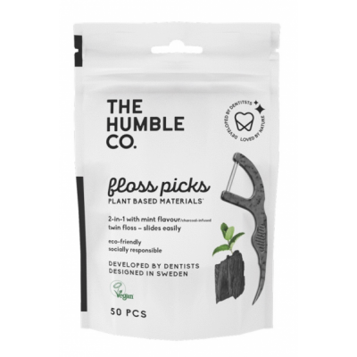 The Humble Co. Dental Floss Picks Charcoal 50 stk