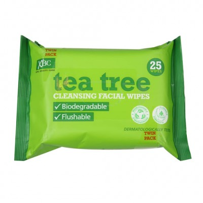 Tea Tree Biodegradable Cleansing Facial Wipes Twin pakning 2 x 25 stk