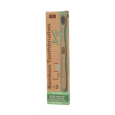 XOC Eco Friendly Bamboo Toothbrushes 3 st