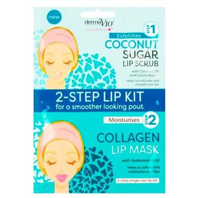 DermaV10 2-Step Lip Kit Scrub & Mask Coconut 1 kpl