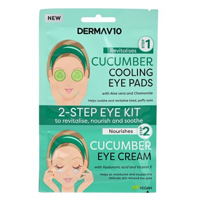 DermaV10 2 Step Eye Kit Cooling Eye Pads & Eye Cream Cucumber 1 st