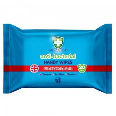 Green Shield Antibacterial Wipes 20 kpl