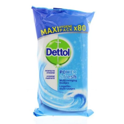 Dettol Power & Fresh Ocean Disinfectant Antibacterial Wipes Maxi Pack 80 kpl
