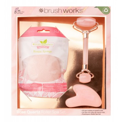 Brush Works Rose Quartz Roller Spa Set 3 kpl