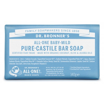 Dr. Bronner's Bar Soap Baby Mild Neutral 140 g