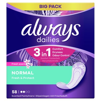 Always Dailies Fresh & Protect Pantyliners Normal 58 st