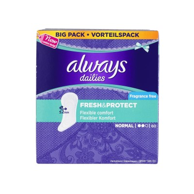 Always Dailies Fresh & Protect Pantyliners Normal 60 stk
