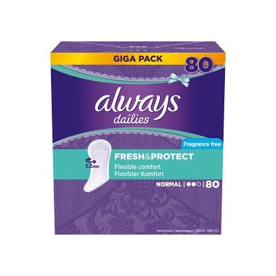 Always Dailies Fresh & Protect Pantyliners Normal 80 stk