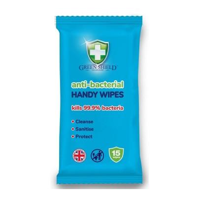 Green Shield Anti-Bacterial Handy Hand Wipes 15 kpl