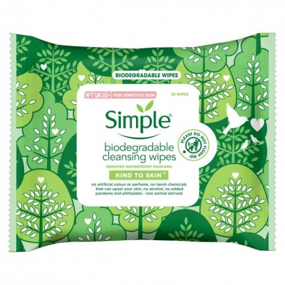 Simple Kind to Skin Biodegradable Cleansing Wipes 25 st