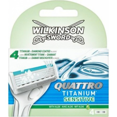 Wilkinson Sword Quattro Titanium Sensitive Barberblad 4 stk