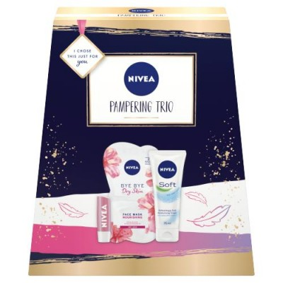 Nivea Pampering Trio Gift Set 2 x 7,5 ml + 75 ml + 4,8 g