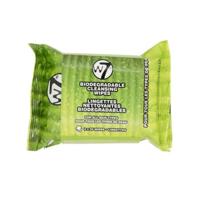W7 Biodegradable Cleansing Wipes 2 Pack 2 x 25 kpl
