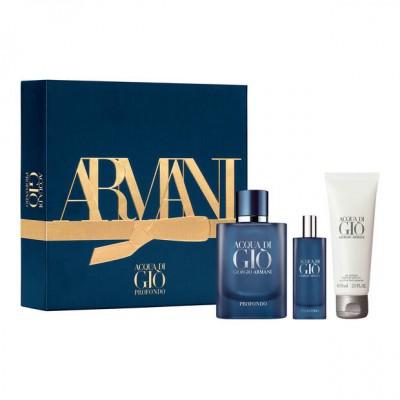 Giorgio Armani Acqua Di Gio Profondo EDP & Mini EDP & Showergel 2 x 75 ml + 15 ml