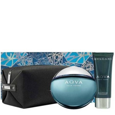 Bvlgari Aqva Pour Homme EDT & Aftershavebalm & Toiletry Bag 100 ml