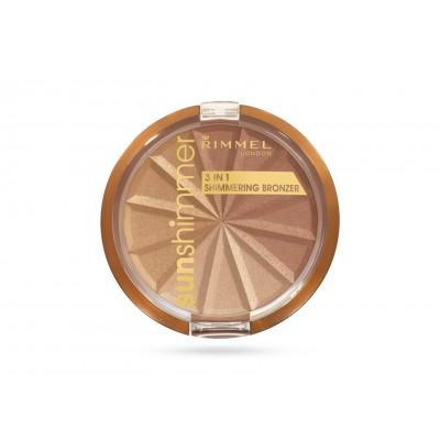 Rimmel Sun Shimmer 3in1 Shimmering Bronzer 001 Gold Princess 9,9 g
