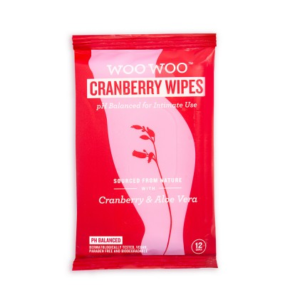 Woo Woo Cranberry Wipes For Intimate Use 12 kpl