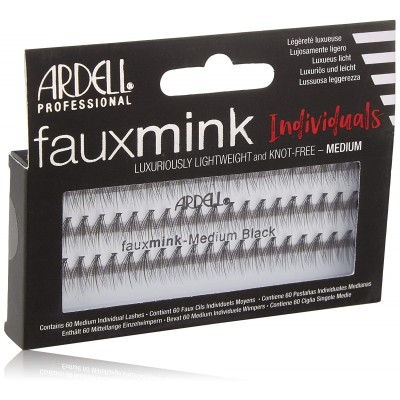 Ardell Fauxmink Individuals Knot Free Medium Lashes Black 60 pcs