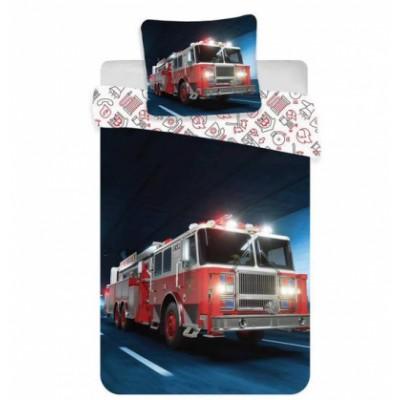 Kids Group Junior Bed Linen Fire Truck 100 cm x 140 cm + 40 cm x 45 cm