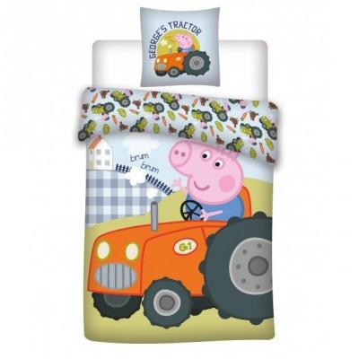 Peppa Pig Junior Sengetøj Peppa Pig Traktor 100 cm x 140 cm + 40 cm x 45 cm